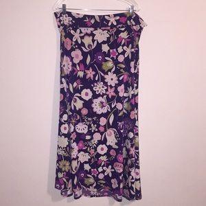 LuLaRoe Purple Floral Maxi Skirt 2XL